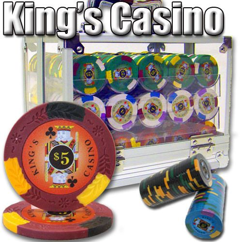 King's Casino 14 Gram Clay Poker Chips in Acrylic Carrier - 600 Ct.