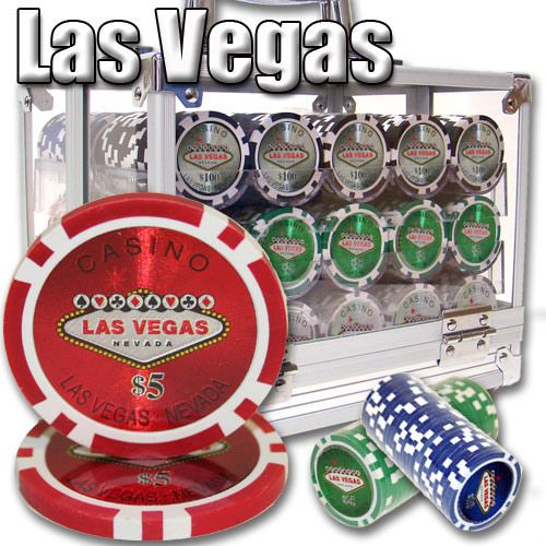 Las Vegas 14 Gram Clay Poker Chips in Acrylic Carrier - 600 Ct.