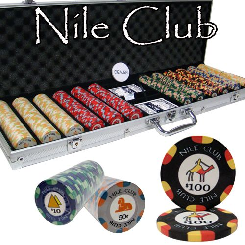Nile Club 10 Gram Ceramic Poker Chips in Aluminum Case - 600 Ct.