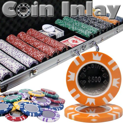 Coin Inlay 15 Gram Clay Poker Chips in Aluminum Case - 600 Ct.