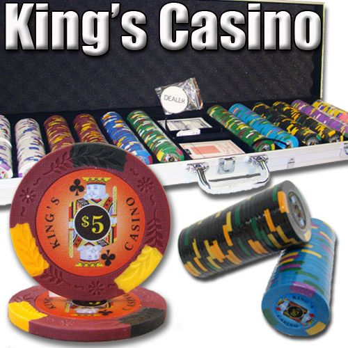 King's Casino 14 Gram Clay Poker Chips in Aluminum Case - 600 Ct.
