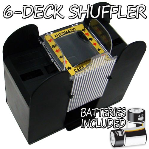 6 Deck Playing Card Shuffler with Batteries
