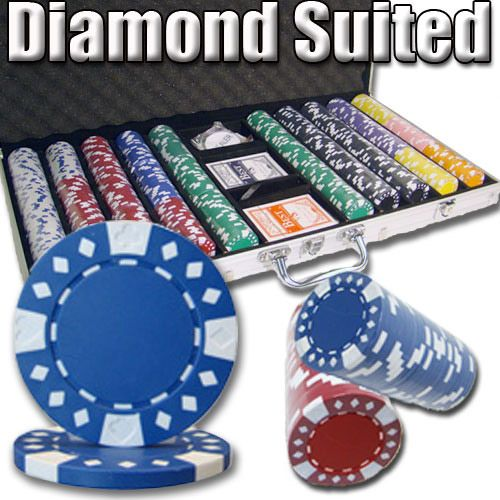 Diamond Suited 12.5 Gram ABS Poker Chips in Aluminum Case - 750 Ct.