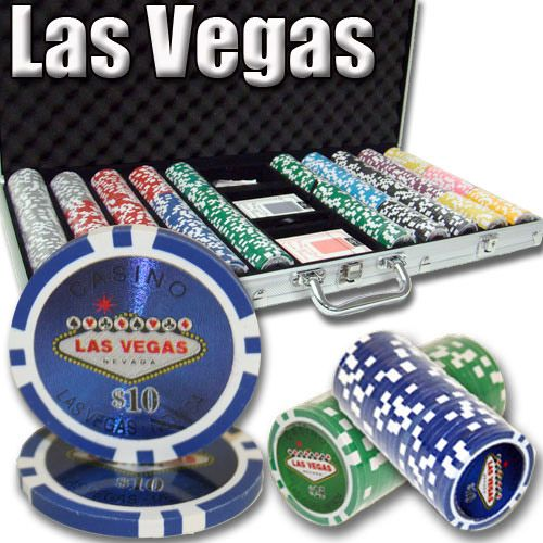 Las Vegas 14 Gram Clay Poker Chips in Aluminum Case - 750 Ct.