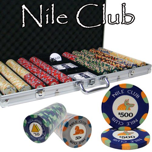 Nile Club 10 Gram Ceramic Poker Chips in Aluminum Case - 750 Ct.