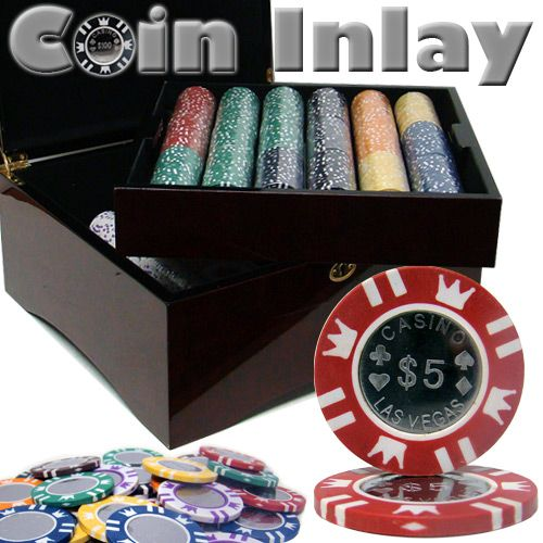 Coin Inlay 15 Gram Clay Poker Chips in Wood Mahogany Case - 750 Ct.