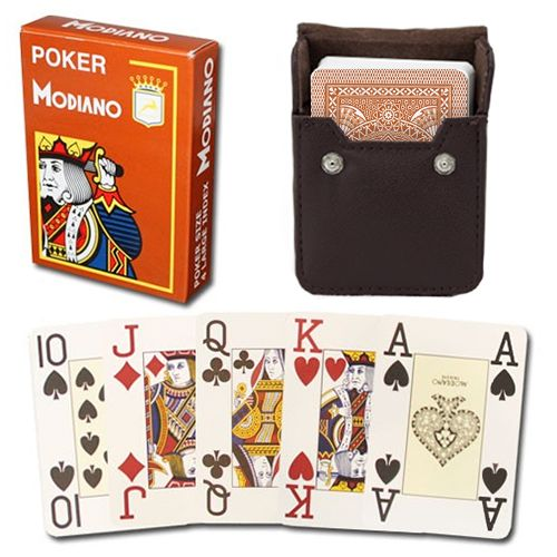 Modiano Cristallo Brown Poker Size Jumbo 4 PIP Index In Leather Case