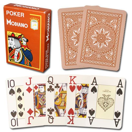 Modiano Cristallo Brown Poker Size Jumbo 4 PIP Index Single Deck