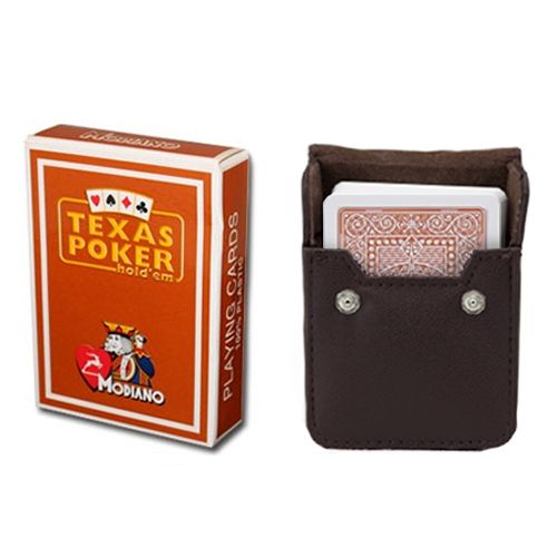 Modiano Texas Poker Brown Poker Size Jumbo Index In Leather Case