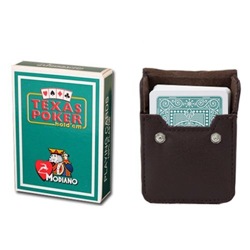 Modiano Texas Poker Dark Green Poker Size Jumbo Index In Leather Case