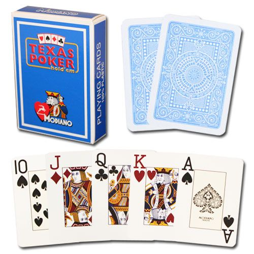Modiano Texas Poker Light Blue Poker Size Jumbo Index Single Deck
