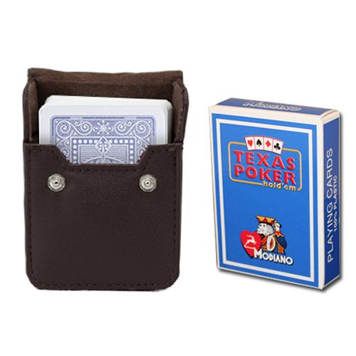 Modiano Texas Poker Light Blue Poker Size Jumbo Index In Leather Case