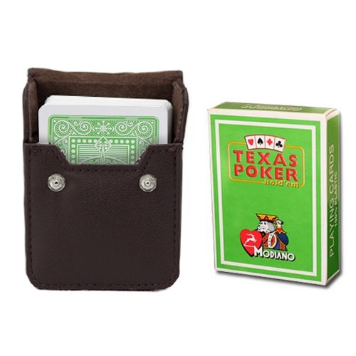 Modiano Texas Poker Light Green Poker Size Jumbo Index In Leather Case