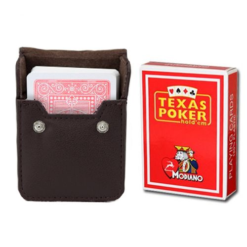 Modiano Texas Poker Red Poker Size Jumbo Index In Leather Case