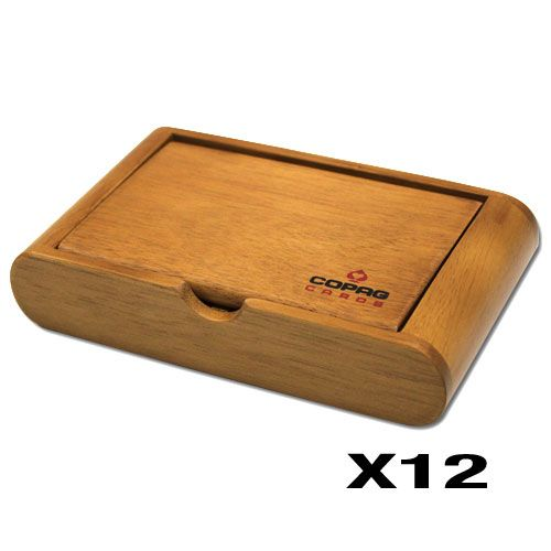 Copag Wooden Playing Card Box - Holds Two Decks - QTY 12