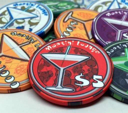 10 Gram Ceramic Custom Poker Chips - Semi Custom - Martini Series