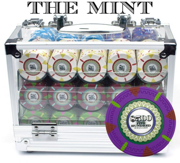 The Mint 13.5 Gram Clay Poker Chips in Acrylic Carrier - 600 Ct.