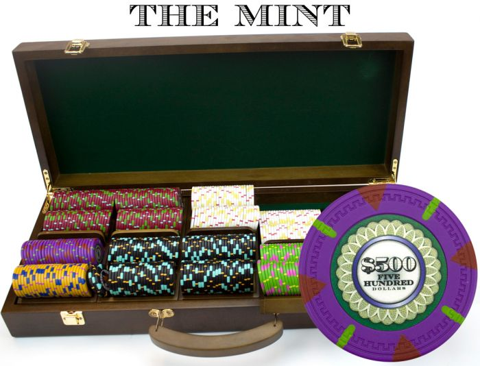 The Mint 13.5 Gram Clay Poker Chips in Wood Walnut Case - 500 Ct.