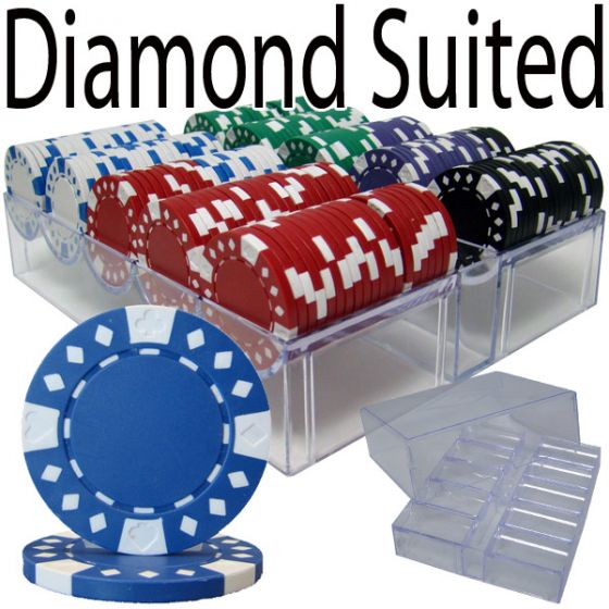 Diamond Suited 12.5 Gram ABS Poker Chips in Acrylic Trays - 200 Ct.