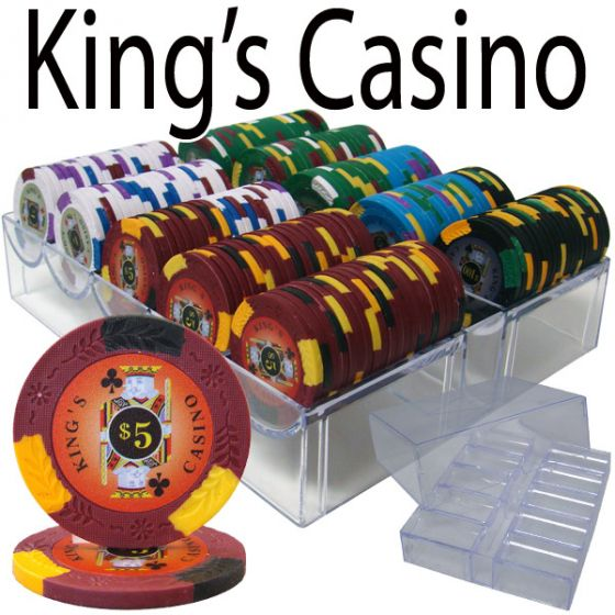 King's Casino 14 Gram Clay Poker Chips in Acrylic Trays - 200 Ct.