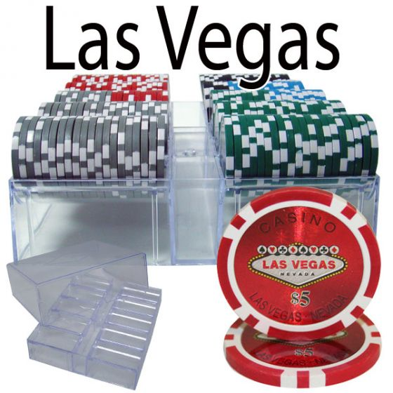 Las Vegas 14 Gram Clay Poker Chips in Acrylic Trays - 200 Ct.