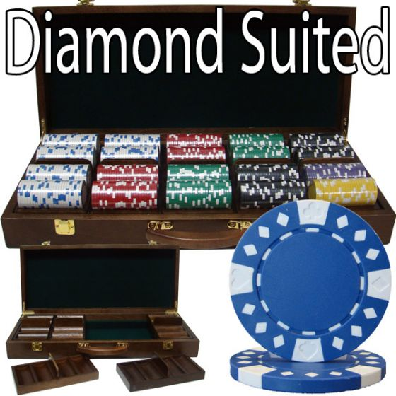 Diamond Suited 12.5 Gram ABS Poker Chips in Wood Walnut Case - 500 Ct.