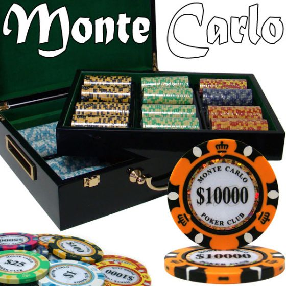 Monte Carlo 14 Gram Clay Poker Chips in Wood Hi Gloss Case - 500 Ct.