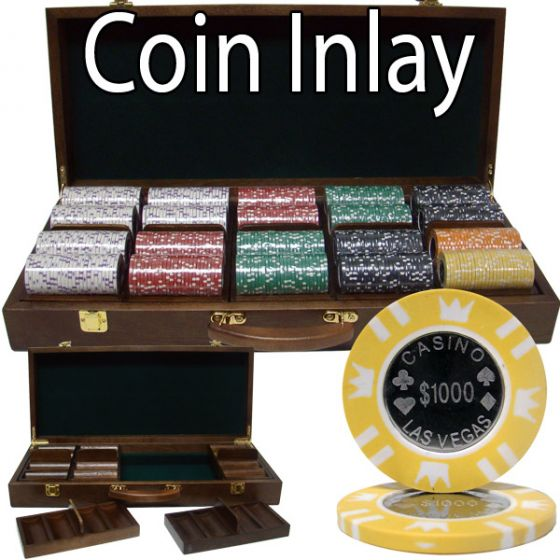 Coin Inlay 15 Gram Clay Poker Chips in Wood Walnut Case - 500 Ct.