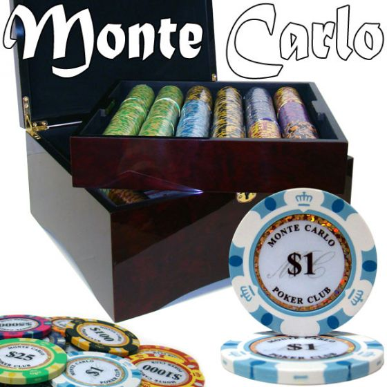 Monte Carlo 14 Gram Clay Poker Chips in Wood Mahogany Case - 750 Ct.