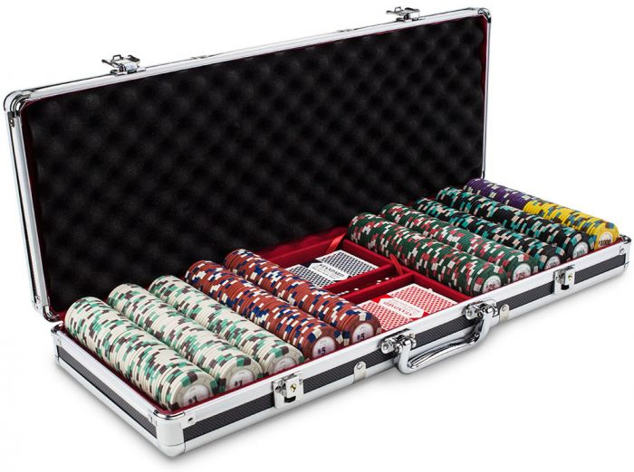 Poker Knights 13.5 Gram Clay Poker Chip Set in Black Aluminum Case - 500 Count
