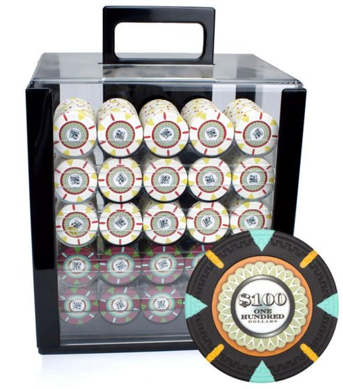 The Mint 13.5 Gram Clay Poker Chips in Acrylic Carrier - 1000 Ct.