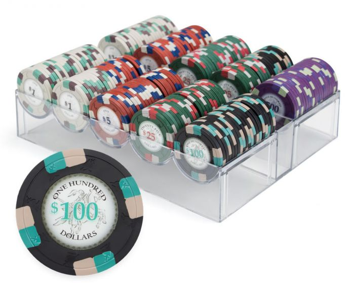 Poker Knights 13.5 Gram Clay Poker Chip Set in Acrylic Case - 200 Count