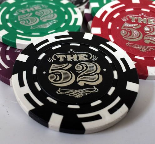 Silver Foil Hot Stamped Custom Poker Chip - The 52
