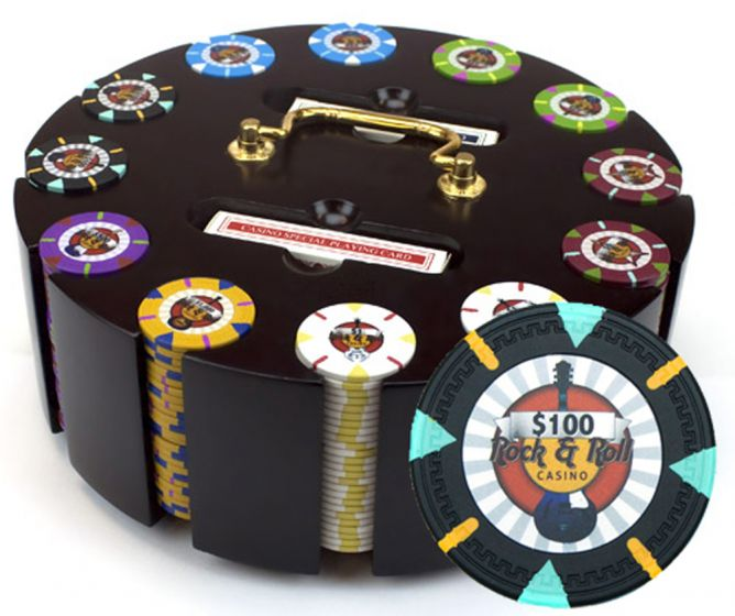 Rock & Roll 13.5 Gram Clay Poker Chips in Wood Carousel - 300 Ct.