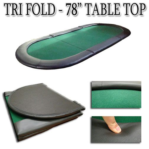 "Green 78""x35"" Tri-Fold Poker Table Top"