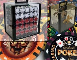 Custom Printed Acrylic Poker Chip Set with 13 Gram Clay Infinity Poker Chips - 1000 Chips