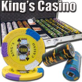 King's Casino 14 Gram Clay Poker Chips in Standard Aluminum Case - 1000 Ct.