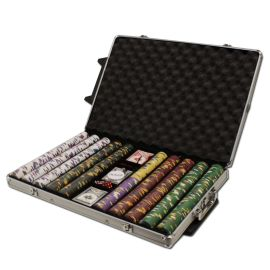 King's Casino 14 Gram Clay Poker Chips in Rolling Aluminum Case - 1000 Ct.