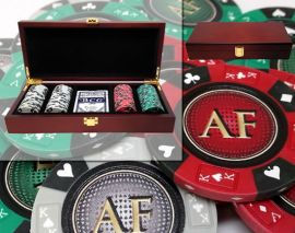Custom Printed Mahogany Wood Poker Chip Set with 14 Gram Clay Ace King & Suits Poker Chips - 100 Chips