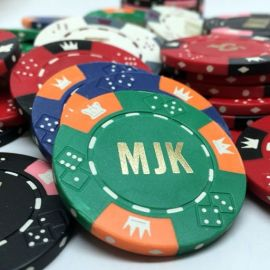 Custom Hot Stamped Poker Chips - 11.5 Gram Triple Crown - Letters & Denominations
