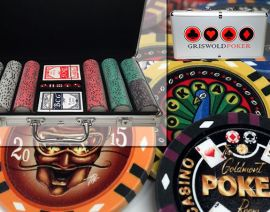 Custom Printed Aluminum Poker Chip Set with 13 Gram Clay Infinity Poker Chips - 300 Chips