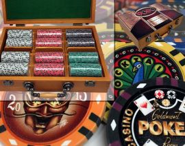 Custom Printed Oak Wood Poker Chip Set with 13 Gram Clay Infinity Poker Chips - 300 Chips