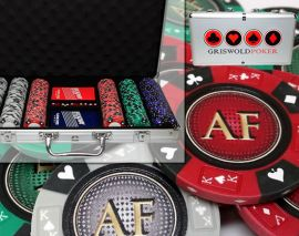 Custom Printed Aluminum Poker Chip Set with 14 Gram Clay Ace King & Suits Poker Chips - 300 Chips