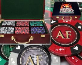 Custom Printed Mahogany Wood Poker Chip Set with 14 Gram Clay Ace King & Suits Poker Chips - 300 Chips