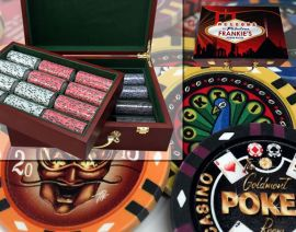 Custom Printed Mahogany Wood Poker Chip Set with 13 Gram Clay Infinity Poker Chips - 500 Chips