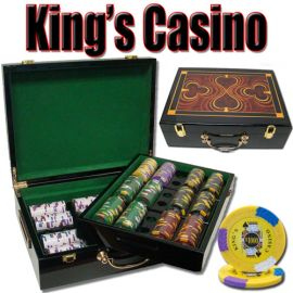 King's Casino 14 Gram Clay Poker Chips in Wood Hi Gloss Case - 500 Ct.