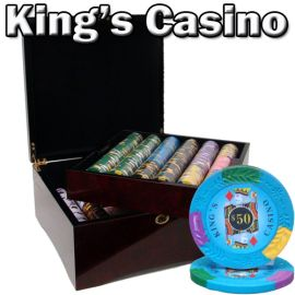 King's Casino 14 Gram Clay Poker Chips in Wood Mahogany Case - 750 Ct.