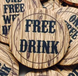 Premium Custom Drink Token Chips - Faux Wood - 6 Chips