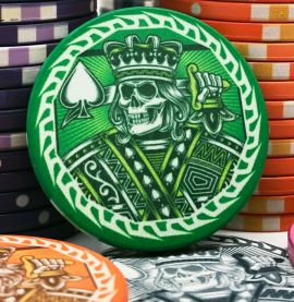 The King of Spades Custom Ceramic Poker Chips Close Up