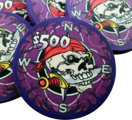 Pieces of Eight 10 Gram Ceramic Pirate Poker Chips Sample Pack - 7 Chips